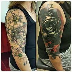Rock N Roll Tattoo cover. State Tattoos, Old Tattoos, Black Tattoos, Body Art Tattoos, Tattoos For Guys, Tattoos For Women, Black Tattoo Cover Up, Cover Tattoo, Cover Up Tattoos Before And After