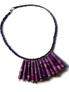 Purple Paper Bead Necklace