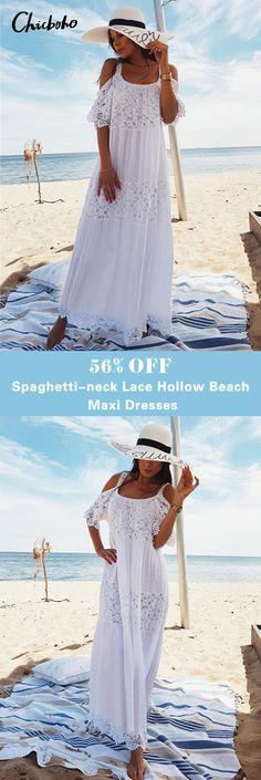 Spaghetti-neck Lace Hollow Solid Beach Swimwear Maxi Dress