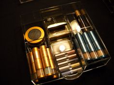 Clear Acrylic Makeup Organizer Cube with 5 par acryliconcepts, $144,00