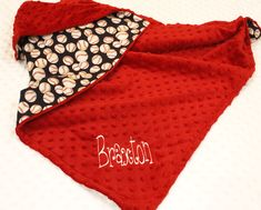 Baby Boy Blanket, Baseball and Red Minky,