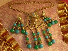 Chinese figural signed bookchain buddha necklace and earrings...