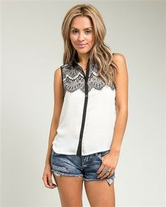 Black Lace Accent Ivory Top – Becky's Fashion Boutique