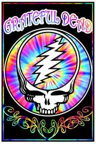 Grateful Dead Space Face Velvet Black light Poster - Trip out under this Grateful Dead Space Face Velvet Black light Poster complete with illuminating colors and the ever popular, Steal Your Face logo. 23 x 35.
