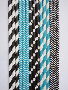 50 Teal Blue & Black Paper Straws Striped Paper Straws Dots Chevron DiY Flags Wedding Paper Straws Kids Birthday Baby Shower Bachelor Party $5.99