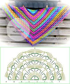 Il filo di Arianna maglia e uncinetto : Scialle multicolor