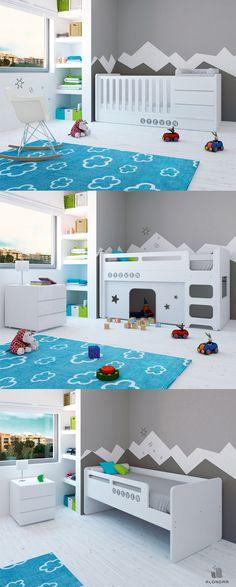 Cunas convertibles súper originales para bebés ¡Las únicas que se convierten en litera: cama alta con cabaña de juegos! Descubre todos sus colores y ¡elige el que más te guste!