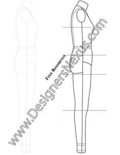 Full Body Female Dress Form Fashion Template Sketch V6 Side View