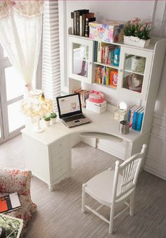 Little corner desk with a lot of space for storage - home office decor