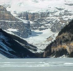Frozen Lake Louise in spring, Canada