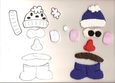 Here are the parts and combinations I made for theMr. Potato Head quiet book.         The basic potato and arms. These are not my patterns...
