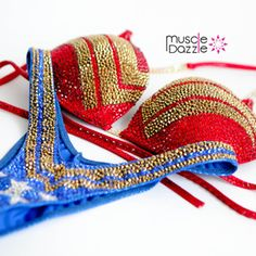 This Wonder Woman Figure Suit features a striking design to bring out your inner super hero. Custom made with stunning crystal work. Bikini Competition Suits, Figure Competition Suits, Fitness Competition, Bodybuilding Suits, Modelos Fitness, Figure Suits, Bikini Competitor, Wonder Woman, Bikini Workout
