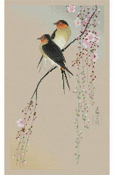 The Beauty of Japanese Embroidery - Embroidery Patterns Cross Stitch Bird, Cross Stitch Animals, Cross Stitch Flowers, Cross Stitch Designs, Cross Stitching, Cross Stitch Patterns, Cross Designs, Bird Embroidery, Japanese Embroidery