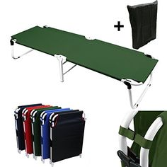 Camping Furniture - Hunter Green Camping Folding Military Cot Outdoor  Free Storage Bag * Details can be found by clicking on the image.