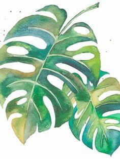 watercolour painting of leaves. Watercolor Leaves, Watercolour Painting, Painting & Drawing, Motif Tropical, Tropical Art, Leaf Art, Botanical Illustration, Flower Art, Art Drawings