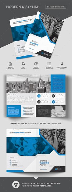 Bifold Brochure Template #a3 #creative  • Download here → https://graphicriver.net/item/bifold-brochure-template/21211012?ref=pxcr