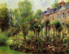 off Hand made oil painting reproduction of The Rose Garden At Wargemont, one of the most famous paintings by Pierre Auguste Renoir. Pierre-Auguste Renoir's Rose Garden at Wargemont painted in is a studied game of depth and form impartin. Pierre Auguste Renoir, Claude Monet, Paul Cezanne, August Renoir, Renoir Paintings, Oil Paintings, Flower Paintings, Garden Painting, Oil Painting Reproductions