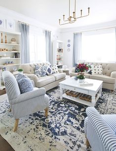 ideas farmhouse living room white home tours for 2019 Blue And Cream Living Room, Living Room White, White Rooms, Living Room Sets, Living Room Furniture, Living Room Decor Country, Design Living Room, French Country Living Room, Coastal Living Rooms