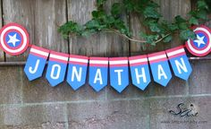 Birthday Party Banner BOYS Custom Name Blue Red White Super hero Captain America Shield Star Más