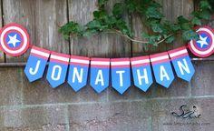 Birthday Party Banner BOYS Custom Name Blue Red White Super hero Captain America Shield Star