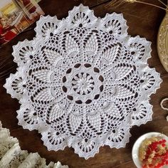 The graceful charming is executed from of cotton strings of color. Remarkable of an interior, fine gift for friends and relatives. Design of Julie Haberberger Material: cotton. Please note Crochet Round, Hand Crochet, Crochet Lace, Free Crochet, Crochet Doily Patterns, Thread Crochet, Crochet Doilies, Crochet Table Topper, Crochet Tablecloth