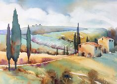Tuscan Memories by Yvonne Joyner Watercolor ~ 11 x 14 Watercolor Painting Techniques, Watercolor Landscape Paintings, Oil Painting Abstract, Abstract Watercolor, Watercolor Illustration, Watercolor Artists, Painting Lessons, Painting Art, Tuscany Landscape