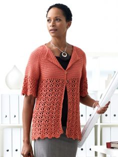 Up to 5x. Crochet Cardigan | Pretty elbow-sleeve cardigan with empire waist, lace, and scalloped edging. Shown in Patons Silk Bamboo