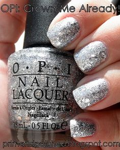 OPI Crown Me Already. Sparkly silver that's not just a top coat! Wonderful!