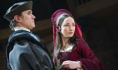 """Ben Miles as Thomas Cromwell and Lydia Leonard as Anne Boleyn in Wolf Hall at the Swan Theatre in Stratford-upon-Avon. From """"Publish and be branded: the new threat to literature's laboratory,"""" by Jennifer Rankin. http://www.theguardian.com/books/2014/jan/13/publish-brand-literature-hilary-mantel-jk-rowling?CMP=twt_gu"""