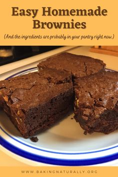 Deep, dark, decadent chocolate brownies are a treat for the whole family, and this recipe makes it easy. My Easy Chocolate Brownies use unsweetened 100% cacao, along with some white chocolate to even things out. #bakingnaturally #homemade #comfortfood #chocolate #brownies