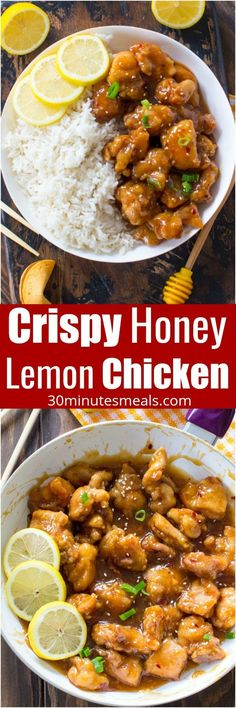 Crispy Honey Lemon Chicken is a restaurant quality meal, that can be made at home in just 30 minutes! Crispy, sticky and full of honey lemon flavor. #chicken #dinner #chinese