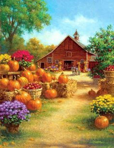 Gardening Autumn - Halloween art ( - With the arrival of rains and falling temperatures autumn is a perfect opportunity to make new plantations Creation Photo, Autumn Scenes, Country Scenes, House Flags, Fall Pictures, Country Art, Country Life, Autumn Art, Autumn Prints