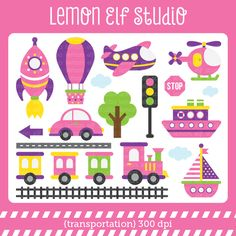 Transportation-Digital Clipart (LES.CL01B) from lemonelfstudio on TeachersNotebook.com -  (19 pages)  - Transportation girl clipart set comes with train, car, airplane, helicopter, hot air balloon, sail boat, sea ship, rocket ship, tree, railroad track and land road.