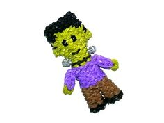 Rainbow Loom - 3D FRANKENSTEIN. Designed and loomed by Ellen Carpenter at feelinspiffy. Click photo for YouTube Tutorial. 10/13/14.