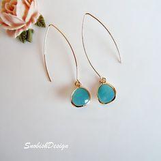Drop Earrings  Long Aquamarine Dangle Earrings  by SnobishDesign, $26.00