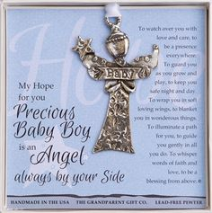 A sweet angel for the tree or a crib medallion for baby. A real keepsake handmade with lead-free pewter in the USA.