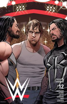 Full of striking artwork and entertaining twists, WWE (BOOM! Studios) impressively hits a chord with the wrestling superstars, reaching beyond their physicality. Le Shield, The Shield Wwe, Wwe Superstar Roman Reigns, Wwe Roman Reigns, Wrestling Posters, Wrestling Wwe, Rey Misterio Jr, Wwe Lucha, Power Rangers