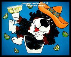 tequila bar art margarita Whimsical dog ART by tangerinestudio, $45.00