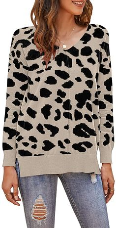 PLMOKEN Women's Casual Lightweight V Neck Batwing Long Sleeve Knit Tunic Top Loose Pullover Sweater(M, Khaki Leopard) at Amazon Women's Clothing store Batwing Sleeve, Long Sleeve, Sweater Making, Women's Casual, Pullover Sweaters, Atlanta, Tunic Tops, Amazon, Store