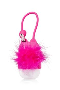Flamingo - PocketBac Holder - Bath & Body Works - A touch of the tropics! Faux feathers in flirty hot pink make this flamingo the perfect accent for your favorite PocketBac. Adjustable strap attaches to your backpack, purse and more so you can always keep your sanitizer close at hand.