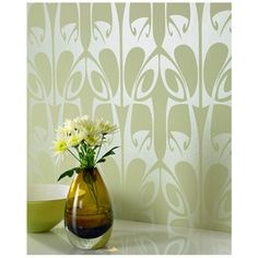 So art Nouveau/glassgow, for the bedroom? Graham & Brown Hula Wallpaper by Barbara Hulanicki | AllModern
