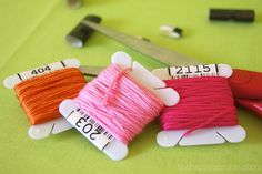 wrap embroidery thread around  plastic floss  card  here is a source for themhttp://www.dmc.com/majic/pageServer/0v010000ke/en_US/DMC-Bobbins.html  from blog Vhttp://thehappyzombie.com/blog/