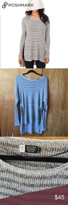NWT Volcom Slider Pullover NWT/NEVER WORN! Volcom Long and super cozy. Overdose crew neck/tunic style. Drop shoulder with fitted sleeves. Front body panel overlaps and back body at sides. Length is 26.5 inches from the shoulder the hem. Fits on the bigger side/oversized look. Size small. Volcom Sweaters Crew & Scoop Necks