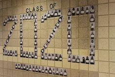 Students hold up board of their career choice. Then we arranged the photos in the year of their graduation. Display for Habit#2: Begin with the end in mind.