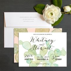 Painted Cactus Wedding Invitations by Very Sarie   Elli