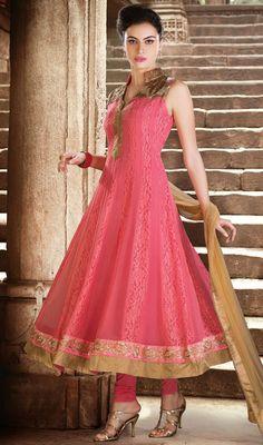 Gorgeous Pink Georgette Net Anarkali Suit Price: Usa Dollar $205, British UK Pound £120, Euro151, Canada CA$220 , Indian Rs11070.