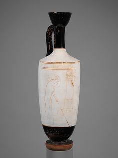 Terracotta lekythos (oil flask)  Period: Classical Date: ca. 440 B.C. Culture: Greek, Attic