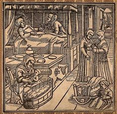 File:A woman in bed recovering from childbirth, a midwife washes Wellcome History Of Midwifery, Renaissance, Early Modern Period, Women In History, 16th Century, Middle Ages, Witchcraft, Fantasy Art, Everything