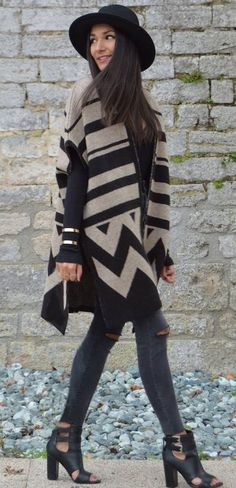 June Sixty Five Aztec Cape Poncho Fall Streetstyle Inspo women fashion outfit clothing stylish apparel @roressclothes closet ideas