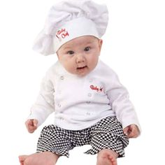 2016 New Baby Unisex Cook Chef Costume Infant Toddler Cotton Clothing Set Hat Top Pants Photos Props Halloween Event